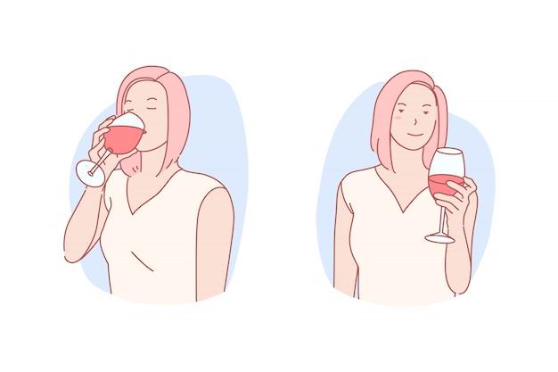 Donna che mangia l'illustrazione del bicchiere di vino