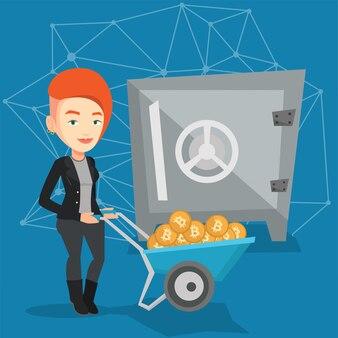 Donna che mantiene i bitcoin nel portafoglio crypto cold.