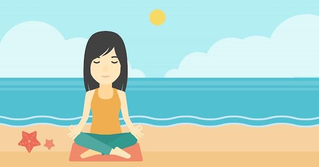 Donna che medita nella posa del loto.