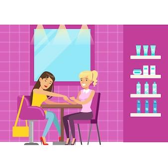 Donna che ottiene un massaggio della mano nel salone di bellezza. personaggio dei cartoni animati colorato