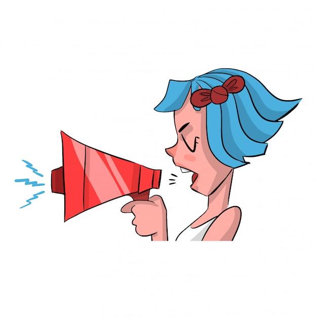 Donna che parla per un megafono
