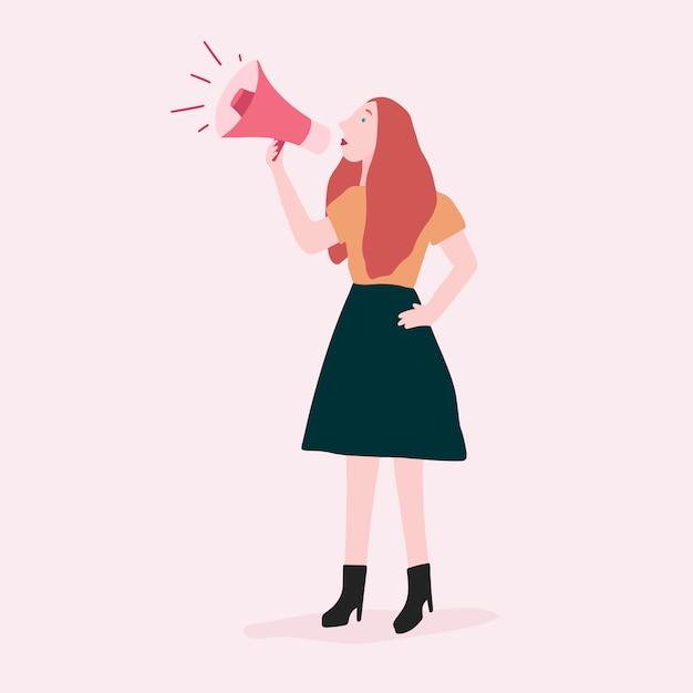 Donna che parla su un megafono per il vettore di supporto femminista