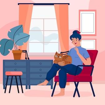 Donna che passa il tempo con il suo gattino