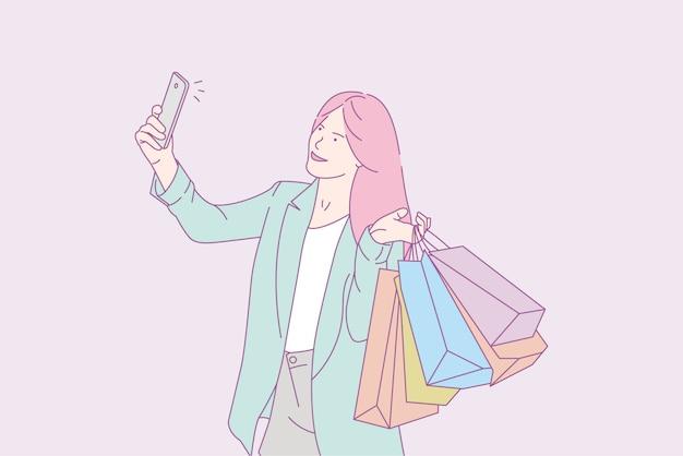 Donna che prende selfie con i sacchetti della spesa, illustrazione di concetto