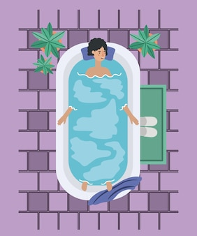 Donna che prende una progettazione dell'illustrazione di vettore della vasca da bagno