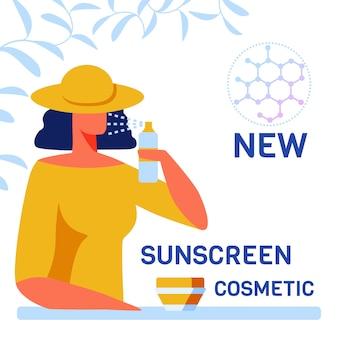 Donna che prova i nuovi cosmetici di cura della pelle della protezione solare