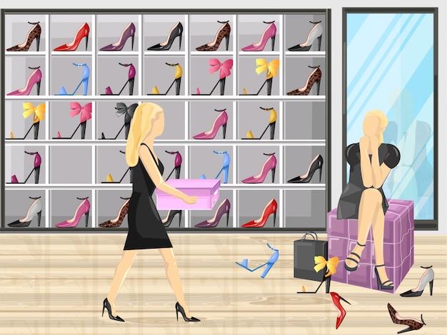 Donna che prova sulle scarpe in un'illustrazione piana di stile del deposito