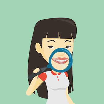 Donna che pulisce la sua illustrazione di vettore dei denti.