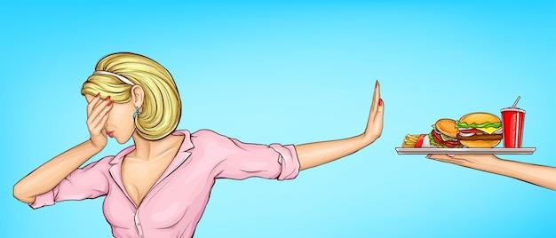 Donna che rifiuta il vettore malsano di arte di schiocco degli alimenti a rapida preparazione