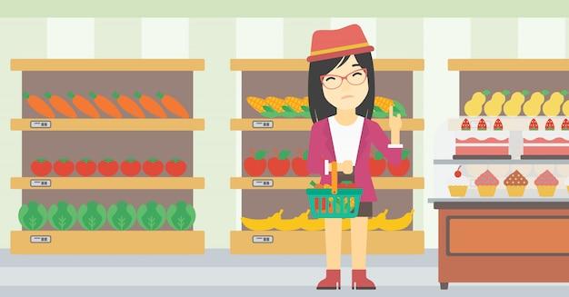 Donna che rifiuta l'illustrazione di vettore degli alimenti industriali.