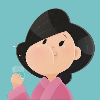Donna che risciacqua e fa i gargarismi mentre usa il collutorio da un bicchiere. durante la routine quotidiana di igiene orale. concetti di assistenza sanitaria dentale. concetto, vettore ed illustrazione di salute dentale