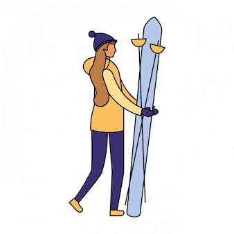 Donna che scia nella stagione invernale