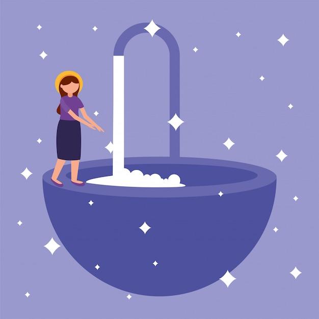 Donna che si lava le mani
