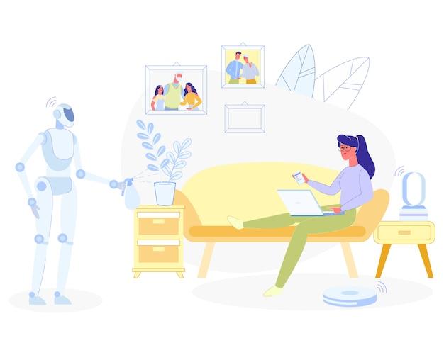 Donna che si rilassa a casa robot che fa i lavori domestici