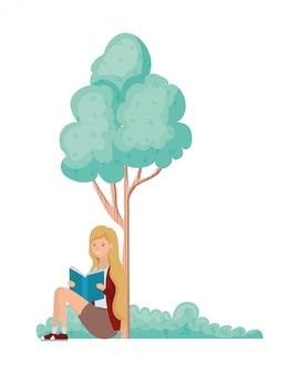 Donna che si siede con il libro nel paesaggio con alberi e piante