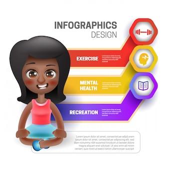 Donna che si siede con infografica