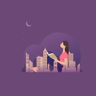 Donna che si siede fuori porta nella notte e nel libro di lettura