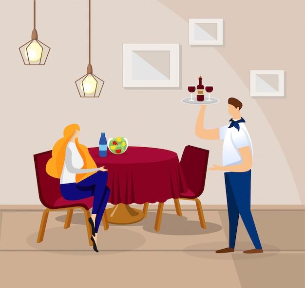 Donna che si siede in ristorante accogliente e in attesa di ordine