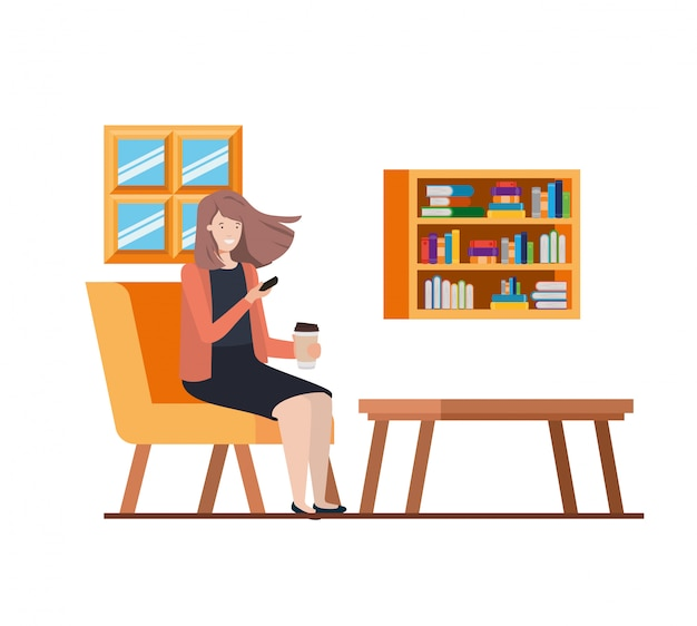 Donna che si siede nell'ufficio del lavoro
