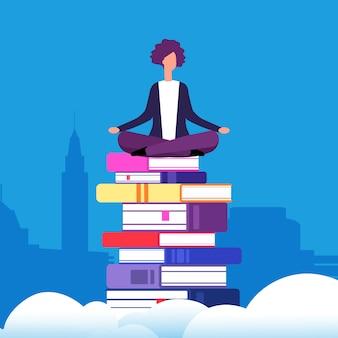 Donna che si siede nella posizione di loto sui libri sopra le nuvole