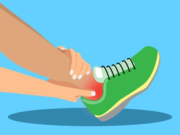 Donna che soffre di dolore alla caviglia.