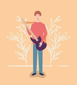 Donna che suona il carattere dello strumento per chitarra elettrica