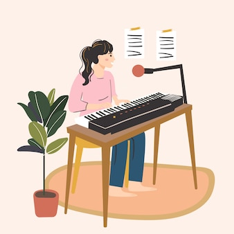 Donna che suona il pianoforte e canta una canzone nel microfono. hobby femminile, attività, professione. concetto di creatività a casa. illustrazione disegnata a mano
