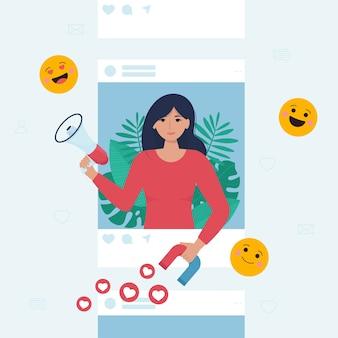 Donna che tiene megafono e magnete nelle sue mani nella cornice del profilo sociale.