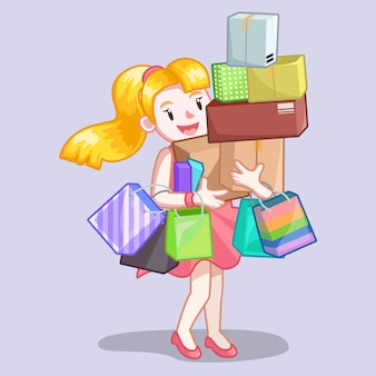 Donna che trasporta shopping box e borsa