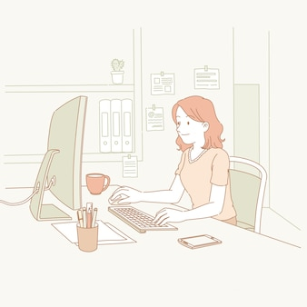 Donna che utilizza il computer sul posto di lavoro in stile linea