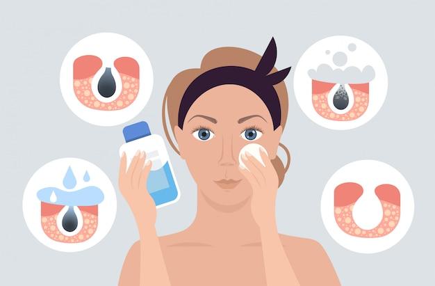 Donna che utilizza la procedura di pulizia del poro di pulizia dei pori del tovagliolo sul trattamento di cura della pelle del viso ostruito