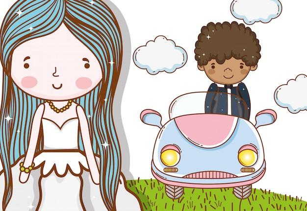Donna con abito e uomo in macchina con le nuvole
