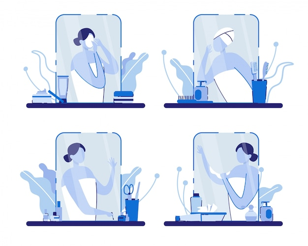 Donna con asciugamano vicino allo specchio con accessori.