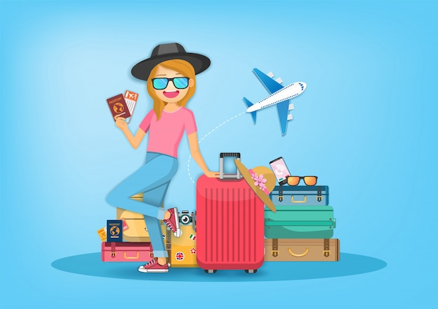 Donna con bagagli