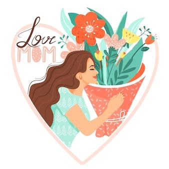 Donna con bouquet di fiori