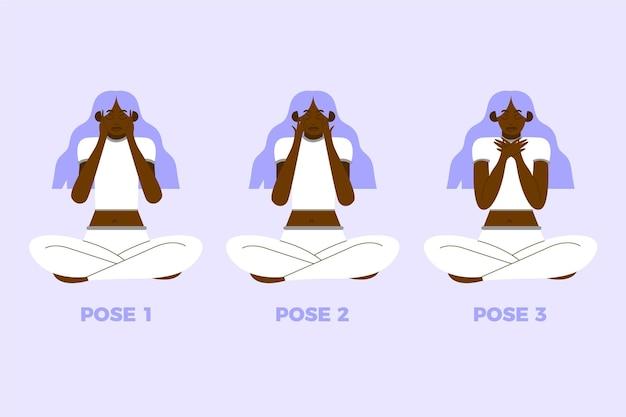 Donna con capelli viola autoriparanti con pose reiki