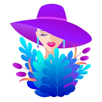Donna con cappello viola