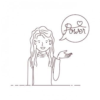 Donna con carattere avatar potere etichetta