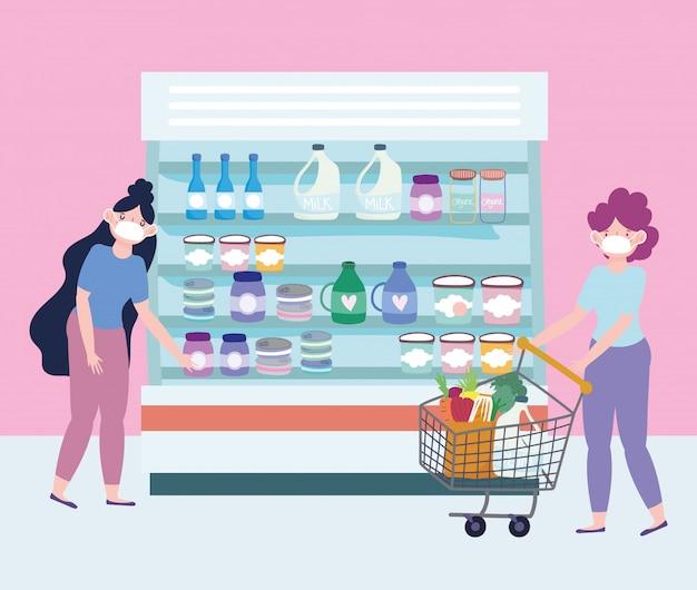 Donna con carrello e ragazza in supermercato, consegna di cibo in drogheria