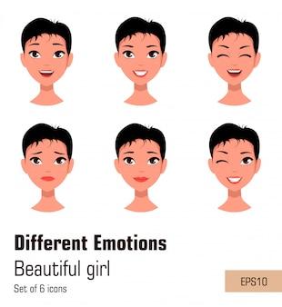 Donna con diverse espressioni del viso