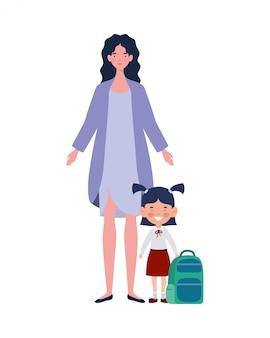 Donna con figlia di ritorno a scuola