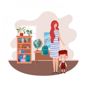 Donna con figlio di ritorno a scuola