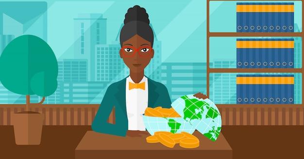 Donna con globo pieno di soldi.