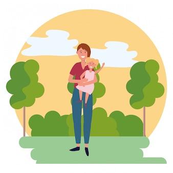 Donna con icona rotonda bambino