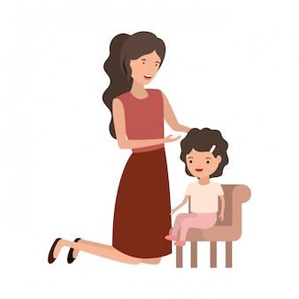 Donna con il bambino seduto sul personaggio di avatar di sedia