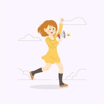 Donna con il megafono che grida illustrato
