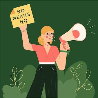 Donna con il megafono pro concetto di diritti civili