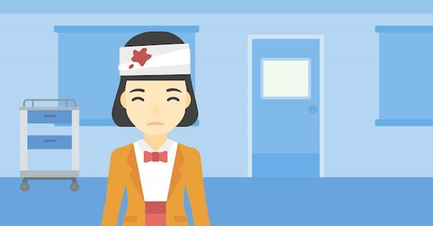 Donna con illustrazione vettoriale testa ferita.
