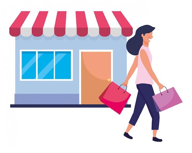 Donna con l'illustrazione dell'icona del sacchetto della spesa