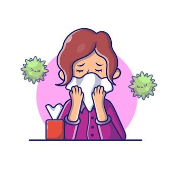 Donna con l'illustrazione dell'icona del tessuto della tenuta di influenza o di freddo. personaggi dei cartoni animati di corona mascotte. person icon concept white isolated